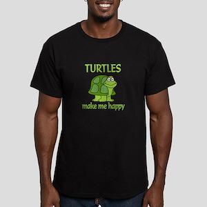 Turtle Happy Men's Fitted T-Shirt (dark)