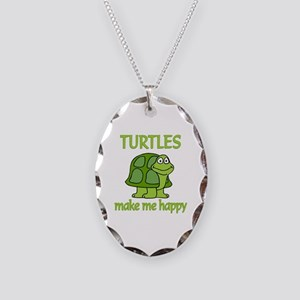 Turtle Happy Necklace Oval Charm