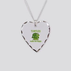 Turtle Happy Necklace Heart Charm