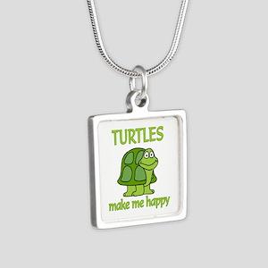 Turtle Happy Silver Square Necklace