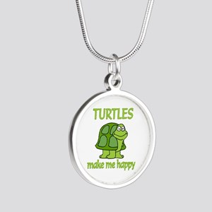 Turtle Happy Silver Round Necklace