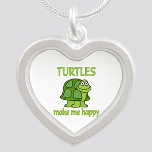 Turtle Happy Silver Heart Necklace