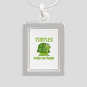 Turtle Happy Silver Portrait Necklace