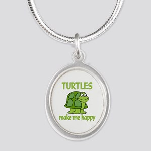 Turtle Happy Silver Oval Necklace