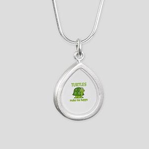 Turtle Happy Silver Teardrop Necklace
