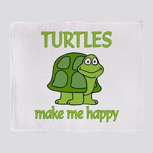 Turtle Happy Throw Blanket