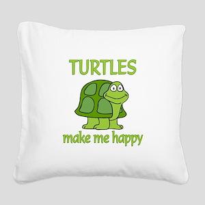 Turtle Happy Square Canvas Pillow