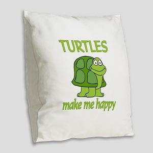 Turtle Happy Burlap Throw Pillow