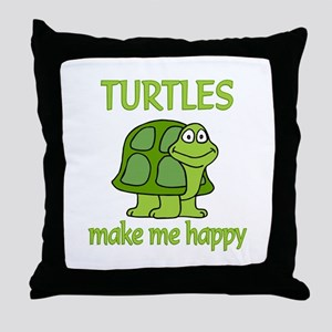Turtle Happy Throw Pillow