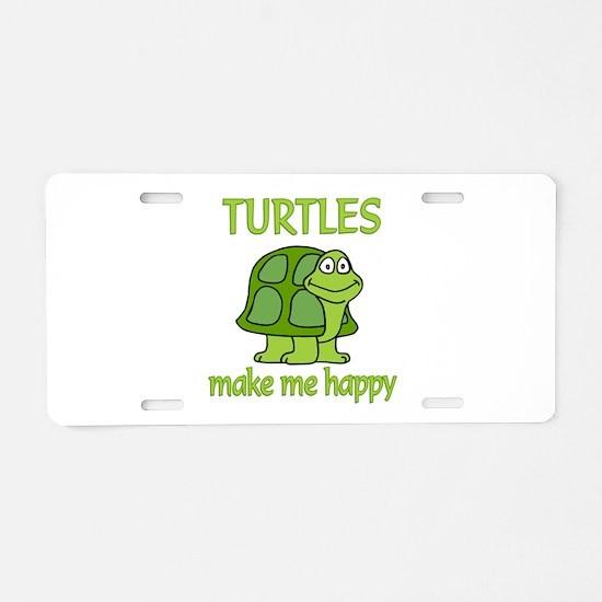 Turtle Happy Aluminum License Plate