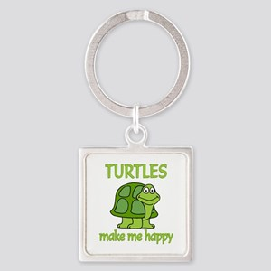 Turtle Happy Square Keychain