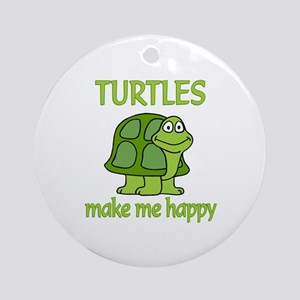 Turtle Happy Ornament (Round)