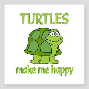 "Turtle Happy Square Car Magnet 3"" x 3"""