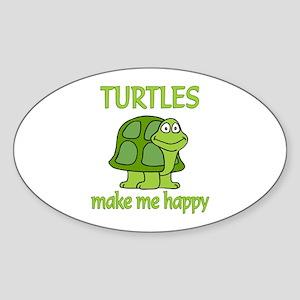 Turtle Happy Sticker (Oval)