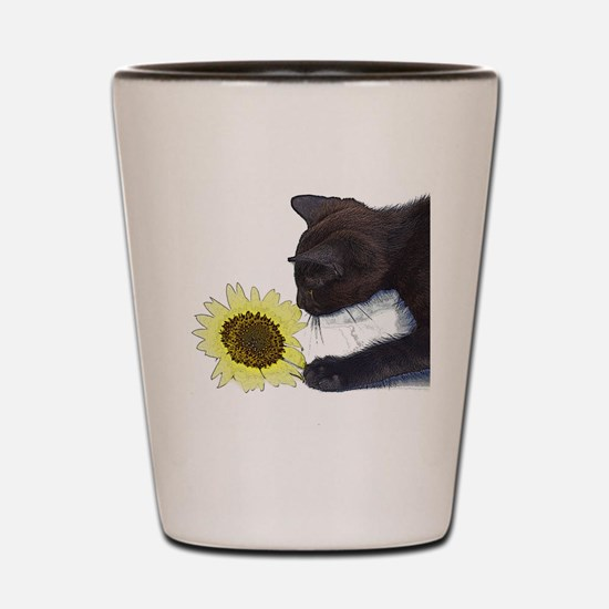 Cat Playing with Sunflower Shot Glass