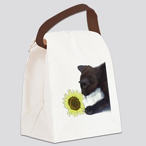 Cat Playing with Sunflower Canvas Lunch Bag