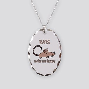 Rat Happy Necklace Oval Charm