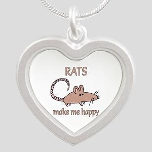 Rat Happy Silver Heart Necklace