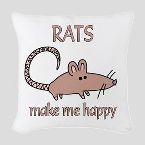 Rat Happy Woven Throw Pillow