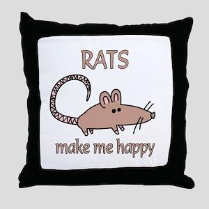 Rat Happy Throw Pillow