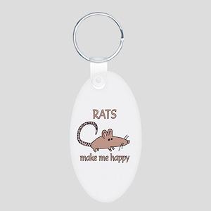 Rat Happy Aluminum Oval Keychain