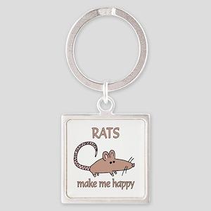 Rat Happy Square Keychain