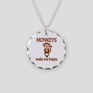 Monkey Happy Necklace Circle Charm