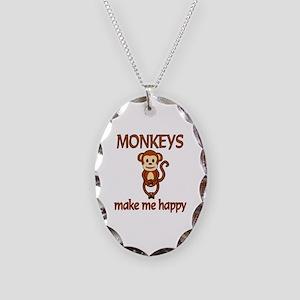 Monkey Happy Necklace Oval Charm