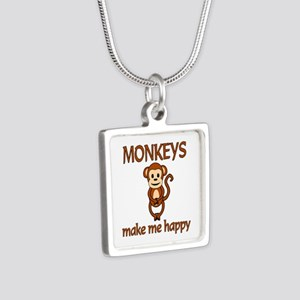 Monkey Happy Silver Square Necklace