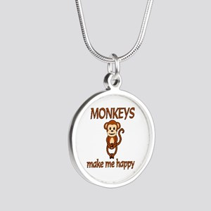 Monkey Happy Silver Round Necklace