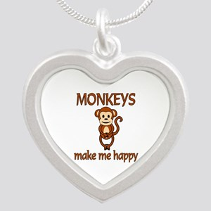 Monkey Happy Silver Heart Necklace