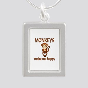 Monkey Happy Silver Portrait Necklace