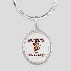 Monkey Happy Silver Oval Necklace