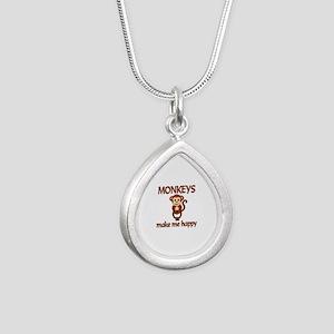 Monkey Happy Silver Teardrop Necklace