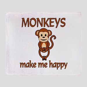 Monkey Happy Throw Blanket