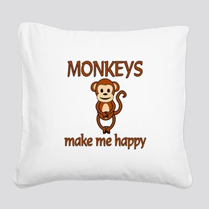 Monkey Happy Square Canvas Pillow