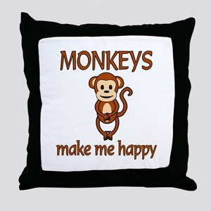 Monkey Happy Throw Pillow