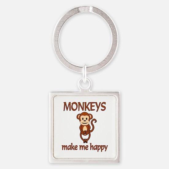 Monkey Happy Square Keychain