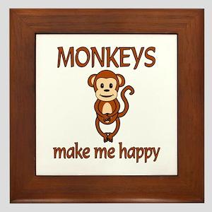 Monkey Happy Framed Tile