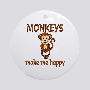 Monkey Happy Ornament (Round)