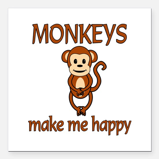 "Monkey Happy Square Car Magnet 3"" x 3"""