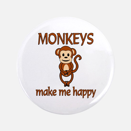 "Monkey Happy 3.5"" Button (100 pack)"