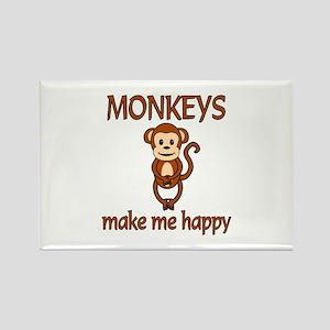 Monkey Happy Rectangle Magnet
