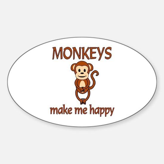 Monkey Happy Sticker (Oval)