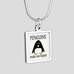 Penguin Happy Silver Square Necklace