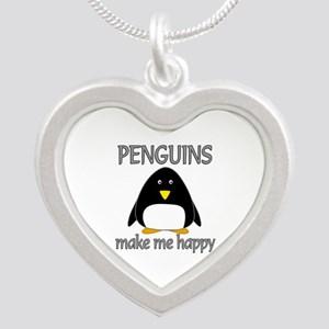 Penguin Happy Silver Heart Necklace