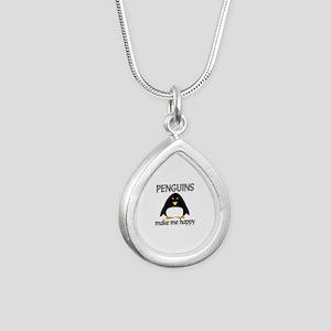 Penguin Happy Silver Teardrop Necklace