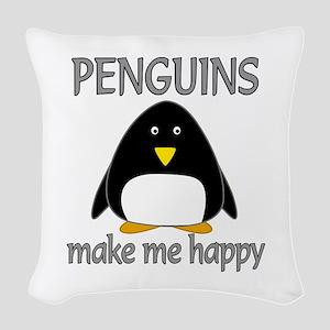 Penguin Happy Woven Throw Pillow