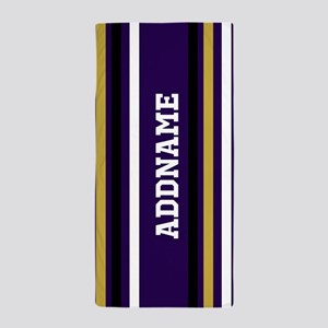 Purple Jersey Stripes Personalized Beach Towel