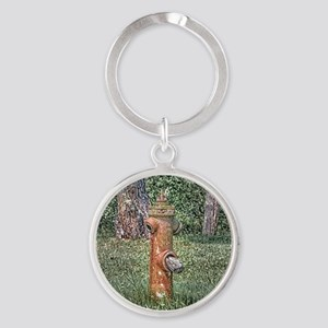 Decaying Fire Hydrant Round Keychain